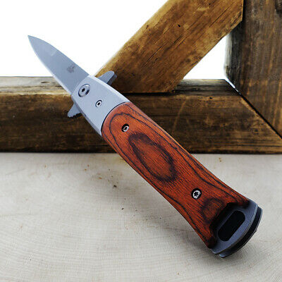 "8.5"" Italian Milano Wood Stiletto Spring Assisted Folding Pocket Knife Classic"
