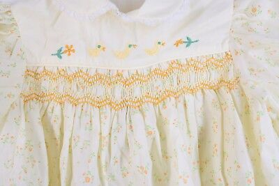 Vintage Baby Togs Yellow Chicks Hand Smocked Dress Infant Toddler 24 Mos NWT