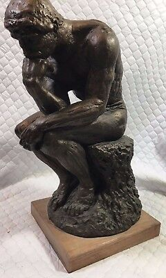 """Vintage Extremely Rare 1962 Large 16"""" Austin Sculpture """"The Thinker"""" Bronze"""