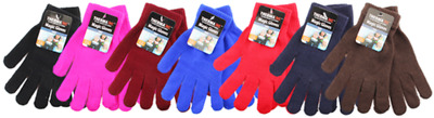 6 Pairs Thermaxxx Magic Knit Gloves Winter Warm Plain One Size Fits Most