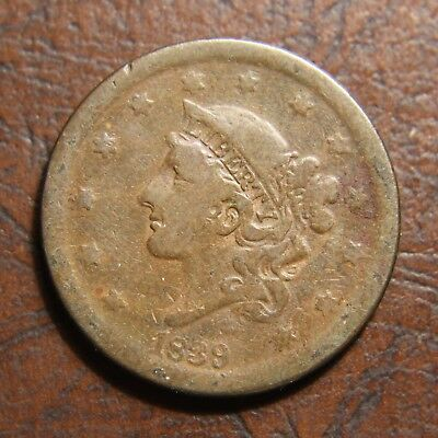1839 Coronet Head Large Cent, N-4, Silly Head