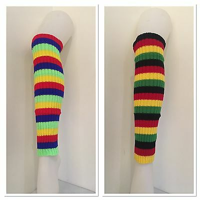 Rainbow LEG WARMERS Knitted Womens Costume Neon Dance Party Knit 80s Legwarmers