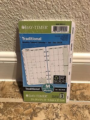 Day-Timer Planner Refill 2018 Size 3 Jan Dec Monthly Traditional White New