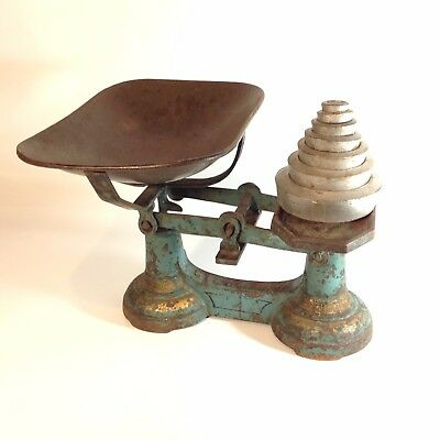 Antique / Vintage Cast Iron Scales With Original Paint + Weights