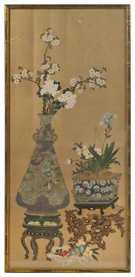 Antique Chinese Qing Dynasty Unsigned Royal Court Painting Scroll on Silk 清代宮廷絹畫