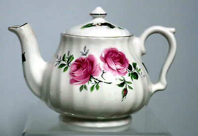 Vintage Staffordshire Teapot ,made in England ,Victorian style Heritage Roses