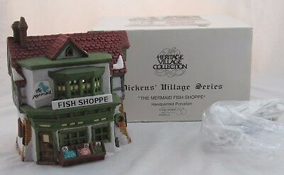 Dept 56 Dickens Village The Mermaid Fish Shoppe in Original Box with Cord