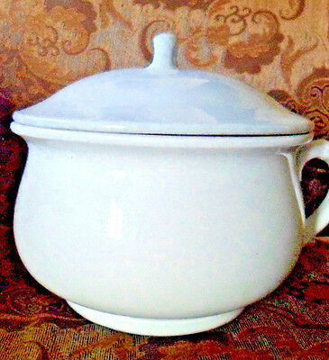 Antique W.E.P. Co China White Ironstone Chamber Pot with Lid Ships Free
