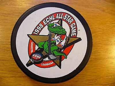ECHL '98 All Star Game Louisiana Official Bud Ice Back Hockey Puck Collect Pucks
