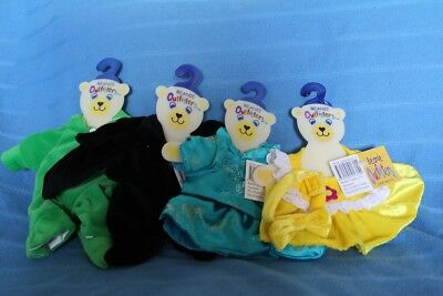 Teddy Bear Clothes - 4 x BEANIE Outfits - BAT , DINO , DRESS ,TOP+SKIRT+SHOES