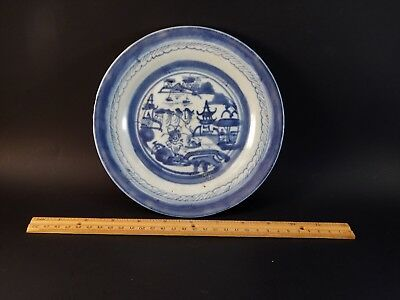 """Antique 19th Century Chinese Export Blue White Canton Plate 7.5"""""""