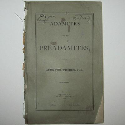 THEOLOGY ANTHROPOLOGY, 1878 1st ed. ADAMITES & PREADAMITES by ALEXANDER WINCHELL