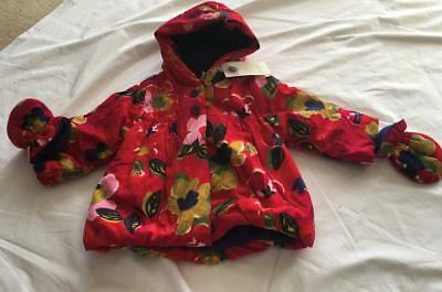 CATIMINI Baby Girls 6m  RED FLORAL PADDED JACKET/COAT w/HOOD & MITTENS - NWT