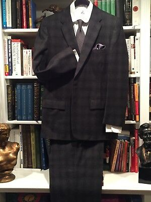 Incredible VTG 40s 50s Gray Flannel Shadow Plaid Drop Loop Hollywood Suit 40 42
