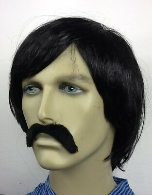 Pop Band Style Black Short Fancy Dress Wig & Droop Moustache. Self Adh