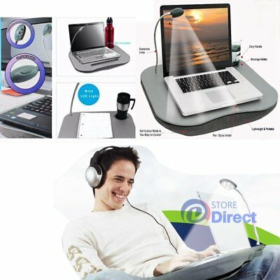 Portable Cushioned Laptop Lap Desk Table with LED Lamp Light Cup Holder New AU