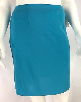 06cbf79e44 Exclusively Misook Pencil Skirt Pool Blue Acrylic Knit Womens Size L NWT
