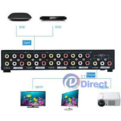 8 In 1 Out Splitter Composite 3RCA AV Video Audio Switch Switcher Box Selector