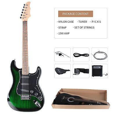 "Full Size 39"" Electric Guitar with 15w Amp, Case and Accessories Pack Beginner"