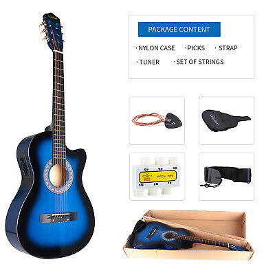 """38"""" Electric Acoustic Guitar Cutaway Design With Guitar Case Strap Tuner Blue"""