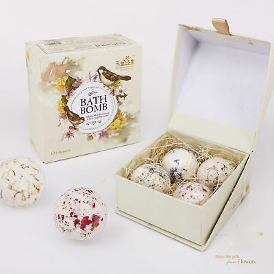 Bubble 4 Bath Bombs Gift Set for Kids Grown Up Handmade Fizzy Spa Box Christmas