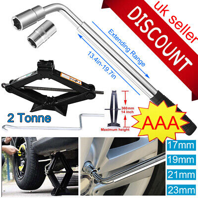 Extendable Wheel Brace Wrench Telescopic Car Socket Tyre Nut& 2 Ton Scissor Jack