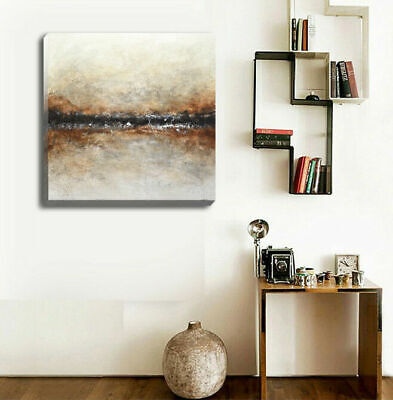 Abstract Stretched Canvas Print Framed Fine Wall Art Home Office Decor Brown DIY