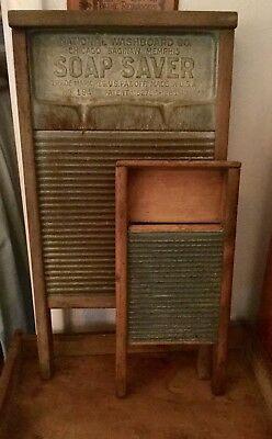 "VTG  Antique ""Homemade"" Small 16"" T 71/2"" W Wood & Metal Washboard 4 Delicates"