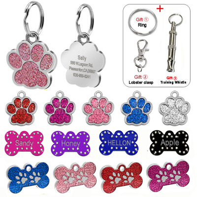 Engraved Personalised Dog Tag Custom Pet Cat ID Name Collar Tag Glitter Paw/Bone