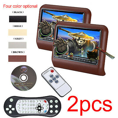 """2x9"""" Car Monitor Headrest LED Screen Button DVD Player With USB/HDMI/IR/FM/Game"""