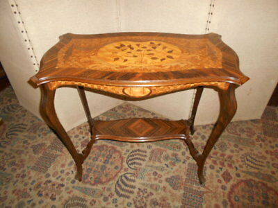 Antique Edwardian 2 tier occasional side table inlaid various woods marquetry