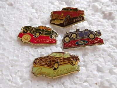 Job lot of 4 vintage Classic American car related lapel pins
