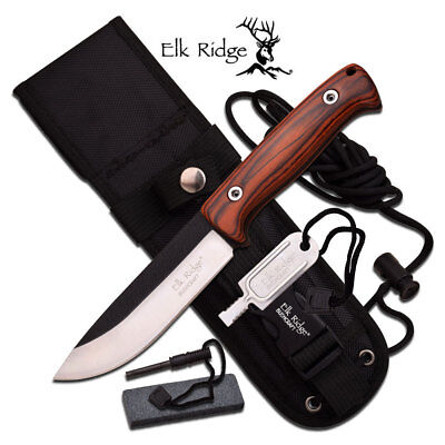 "Elk Ridge Bushcraft 10.5"" Fixed Blade Knife+ Fire Rod+ Sharpener+Sheath ER-555PW"