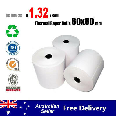 5/50/100 Rolls 80x80mm EFTPOS Roll Thermal Paper Cash Register Receipt Roll