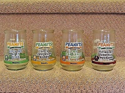 4 Welch's PEANUTS Glasses #s 3, 5, 6, & 7 Charlie Brown Snoopy Sally Woodstock +