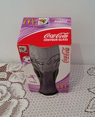 COKE COCA COLA South Africa FIFA 2010 PURPLE CONTOUR GLASS NEW IN PACKAGING