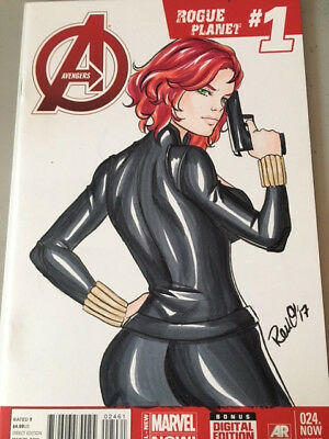 Avengers 024.NOW sketch cover blank variant  Black Widow art by aerianr