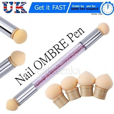 Dual head Nail Art Gradient Shading Painting Powder Pen Nail Art Sponge Brush