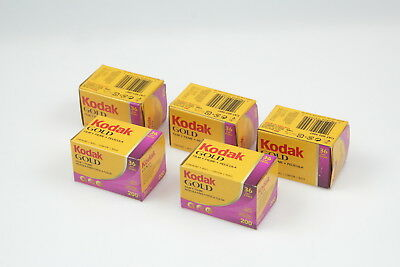 Lot of 5 Kodak GOLD 200 35mm 36exp Color Print Film (Exp. 2008.11)