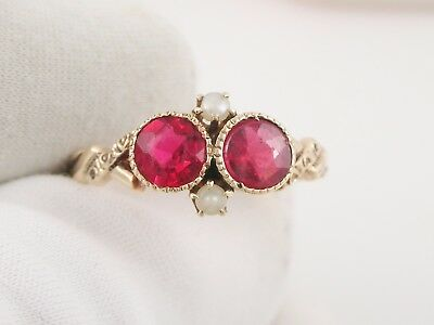 victorian vintage 10K yellow gold red glass stone seed pearl ring sz 6.5