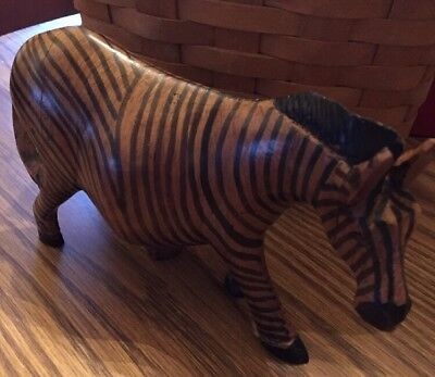 """Carved Wood African Zebra Figurine Decor 7"""" X 5"""" Tall Home Office Decor"""
