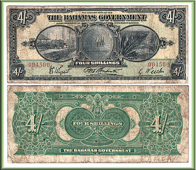 NO RESERVE AUCTION: 1919 Bahamas Government 4/ Note, Scarcer P-2a Variety. Fine