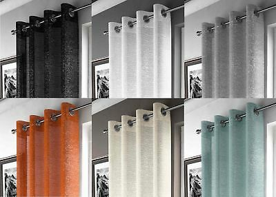 New Adele Sparkle Voile Curtain Panel Ready Made Eyelet Ring Top Voile Panels