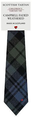 Boys Wool Tie in Scottish Woven Campbell Faded Weathered Tartan