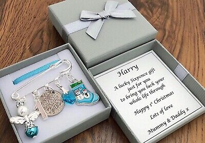 BABY'S FIRST CHRISTMAS GIFT, LUCKY SIXPENCE, BOY PERSONALISED in BOX