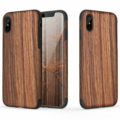 REAL WOOD Case iPhone X XR XS MAX 6 6s 7 8 & Plus SE 5S Wooden Hybrid Flexi