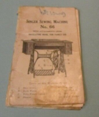 Vintage 1920 Singer Oscillating Hook Sewing Machine No. 66 Instruction Manual