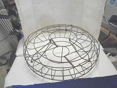"""rusty metal wire stand up fan cage hunter century 27-1/2"""" rough industrial decor"""