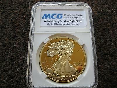 Walking Liberty American Eagle Certified Copper MCG PR70 100 Mills 24k Gold Slab