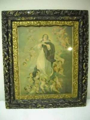 """Antique Vintage Religious Print Art Mary & Angels Ornate Frame Large 28.5""""x25.5"""""""